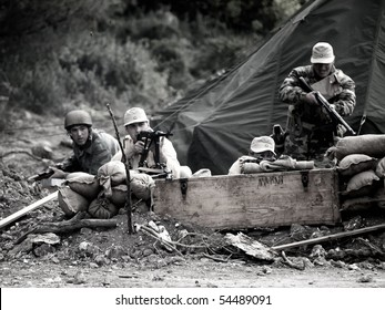 MTARFA, MALTA - MAY 23 - A Nazi WWII camp being defended during reenactment  on May 23, 2010 in Mtarfa Malta