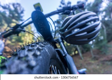 Mtb Bicycle Tire Low Angle View