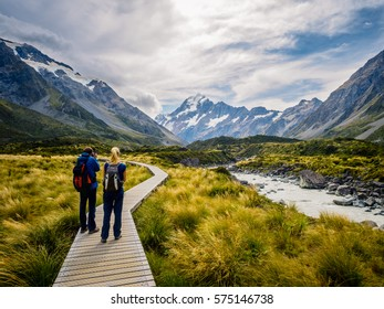 Mt.Cook - March 12, 2016: Travelers go into Mount Cook in New Zealand. Hooker Valley Track.