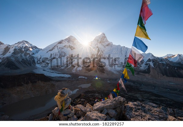 Mt.Everest at sunrise from Kala Patthar summit, Nepal