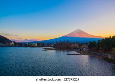 Mt.Fuji Beautiful sunset at Lake Kawaguchi , Japan