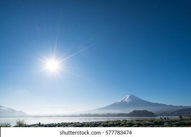 Mt.Fuji and blue sky at Kawaguchi-lake,Yamanashi,tourism of Japan