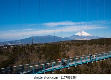 Mt.Fuji with blue sky at Mishima skywalk, Japan