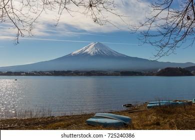 Mt.Fuji. Colorful Autumn in Mount Fuji, Japan. mt. Fuji Sunrise  Autumn season in japan. Maple japan and mount fuji on blue sky.