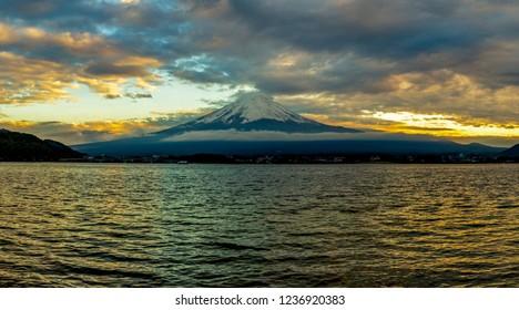 Mt.Fuji with kawaguchiko lake panorama sunset time