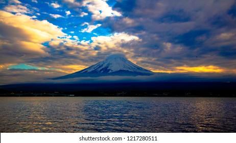 Mt.Fuji with kawaguchiko lake at sunset time