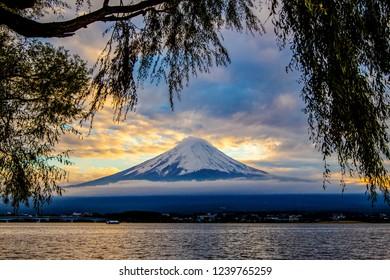 Mt.Fuji with Kawaguchiko lake viewpoint background