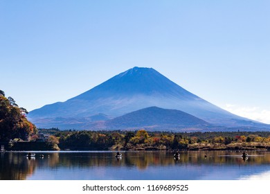 Mt.Fuji. Lake Shojiko. Mountain shadows that Mt. Fuji is reflected upside down on the surface of the water.
