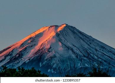 Mt.Fuji morning sunset sky background