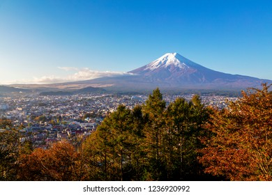 Mt.Fuji on blue sky with Kawaguchiko city from viewpoint background