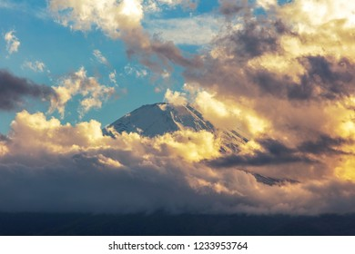 Mt.Fuji with storm sky view background