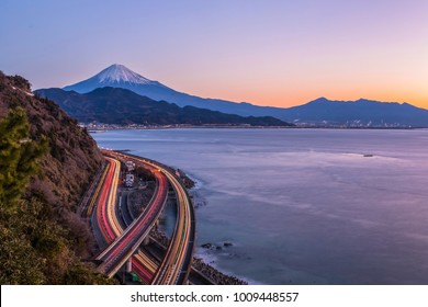 Mt.Fuji and Suruga Bay at Shizuoka in morning winter seen from Satta toge view point