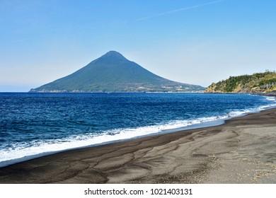 Mt.Kaimondake seen from Nagasakibana Cape, Ibusuki city, Kagoshima prefecture Japan.