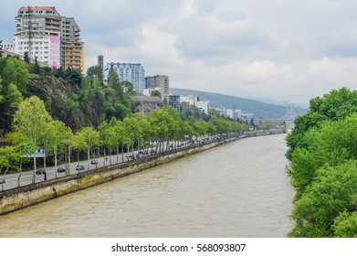 Mtkvari (Kura) River in Tbilisi, the capital of Georgia