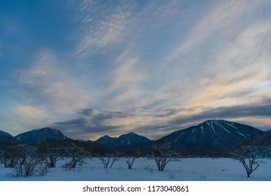 Mt.Nantai and Mt.Taro,Mt.Omanago seen from Odashirogahara