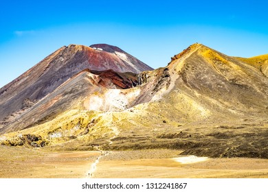 "Mt.Ngauruhoe (aka. Mt.Doom) and Red Crater, North Island, New Zealand on a sunny day. Part of ""Tongariro Alpine Crossing"" the most famous NZ one day hike"