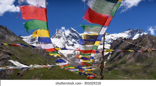 Mt.Nun-Kun landscape view with buddhist prayer flags ,Zanskar,Jammu-Kashmir,India