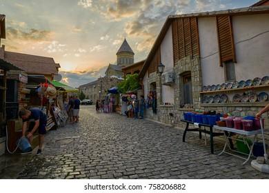 MTSKHETA, GEORGIA - 31 JULY 2017: Sunset Street of Mtskheta old town near Tbilisi