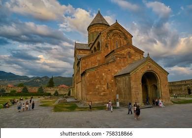 MTSKHETA, GEORGIA - 31 JULY 2017: Svetitskhoveli Cathedral in Mtskheta near Tbilisi