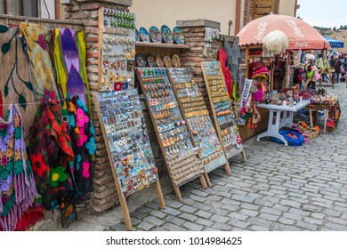 MTSKHETA, GEORGIA, EASTERN EUROPE - MAY 16TH, 2015 : Tourism street vendors in the historic city of Mtskheta which is one of the oldest cities in Georgia and designated a World Heritage Site.