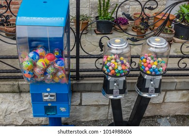 MTSKHETA, GEORGIA, EASTERN EUROPE - MAY 16TH, 2015 : Bubblegum vending machines in the historic city of Mtskheta which is one of the oldest cities in Georgia and designated a World Heritage Site.