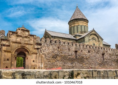 MTSKHETA, GEORGIA, EASTERN EUROPE : Svetitskhoveli Cathedral Complex in the historical town of Mtskheta and is a World Heritage Site and famous national cultural landmark.