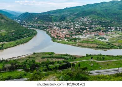 MTSKHETA, GEORGIA, EASTERN EUROPE - view of the historic town of Mtskheta situated next to the Mtkvari and Aragvi Rivers estuaries.