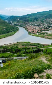 MTSKHETA, GEORGIA, EASTERN EUROPE - view of the historic town of Mtskheta situated next to the Mtkvari and Aragvi Rivers estuaries.