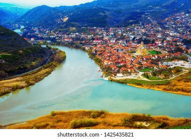 Mtskheta, located on two rivers Mtkvari and Aragvi in Caucasus mountains north of Tbilisi, is one of the oldest cities and center of orthodox christianity in Georgia