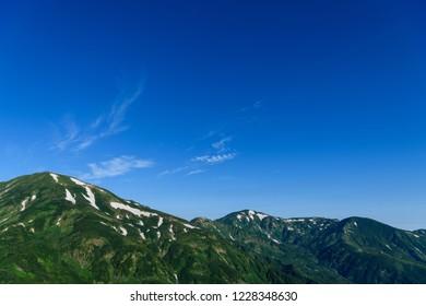 Mt.Yukikuradake and Mt.Mt.Asahidake in summer