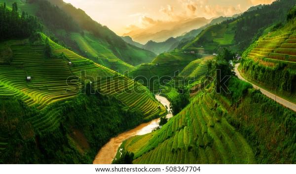 Mu Cang Chai, terraced rice field landscape near Sapa, north Vietnam.