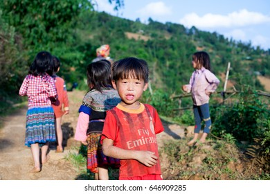 Mu Cang Chai Vietnam April 30 2017 Children ethnic minority playing in festival Hmong New Year in North Vietnam,  H'mong is the 8th largest ethnic group in Vietnam