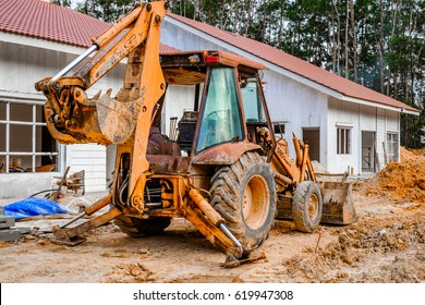 Muadzam Shah, Malaysia - March 13, 2017: An excavator  is parking at site construction to build a retaining wall at Desa Alamanda 2 , Muadzam Shah, Malaysia.