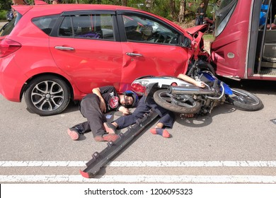 Muadzam Shah, Pahang - October 18th, 2018 :  Motorcyclists lying on the road after the accident during the Inter Agency Disaster Training Program 2018