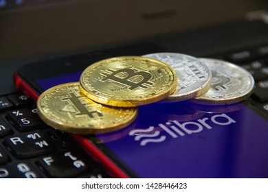 Muang, Chiang Mai, Thailand - JUNE 19, 2019: Facebook coins a new digital money call is Libra Facebook Cryptocurrency this new coins from facebook.com.