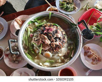 Muang Nakhon Si Thammarat, Nakhon Si Thammarat / Thailand - March 20 2018: This is one of the most famous food in Thailand. It's called 'Nue KaTa' Nue means meat and Kata means pan.