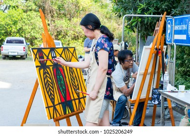 Muang, Nakhonratchasima / Thailand 02-15-2018: Nakhonratchesima International Arts. The Artist from many country come to Joins their arts and show for workshop in this event.