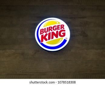 Muang, Nakhonratchasima / Thailand - April 27, 2018: Burgerking logo on the wall