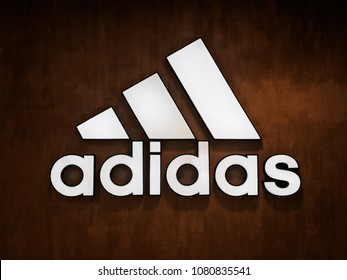 Muang, Nakhonratchasima / Thailand - April 27, 2018: Adidas logo on the wall.
