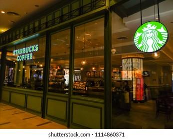 Muang , Nakhonratchasima / Thailand - June 17th 2018 :  Starbucks Coffee at Terminal21 Korat in night time.