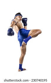 Muay thai, Asian man exercising thai boxing isolated on white background
