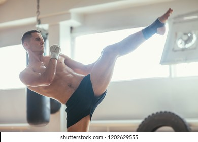Muay thai boxer doing high kick. Young athlete demonstrates kickbox. Stretching and balance concept