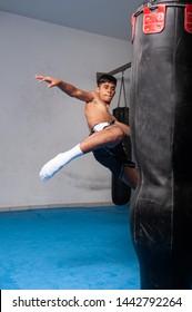 muay thai boxing training indian boy