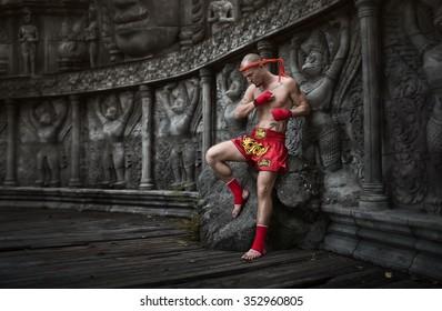 Muay Thai fighter preparing to fight
