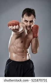 Muay thai or kickbox fighter in various postures - see the whole series