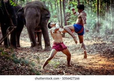 Muay Thai MUAY KOTCHASAN Elephant Technic Fighter tradition of Thailand.