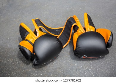 Muay-thai boxing gloves are in the ring