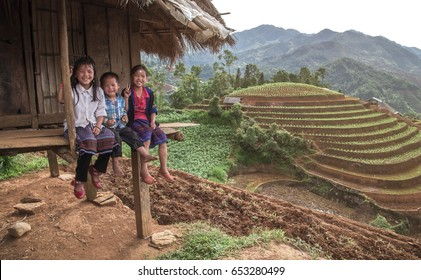 MUCANGCHAI, VIETNAM, MAY 24 , 2017: Undefined Vietnamese Hmong children at rice terrace in Mu Chang Chai , Vietnam