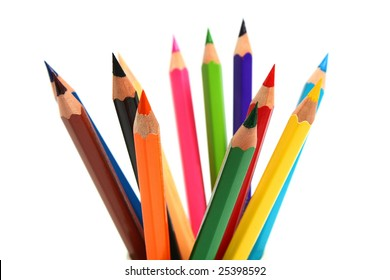 much colors sharp pencils isolated on white background