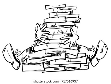 Too much documents or books in the man hands hand drawn illustration isolated. Hands and legs of the man appear from a big pile of books or documents